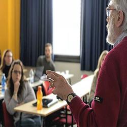 Professor instructing the students of Istituto Universitario Salesiano (IUSVE), Venezia Italy