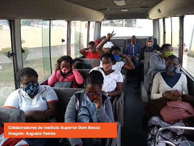 "Employees  of the Salesian Institution ""Instituto superior Dom Bosco"" (ISDB) Mozambique, Africa express their satisfaction for the institutional transport that facilitates them to arrive at their workplace in a safe manner"