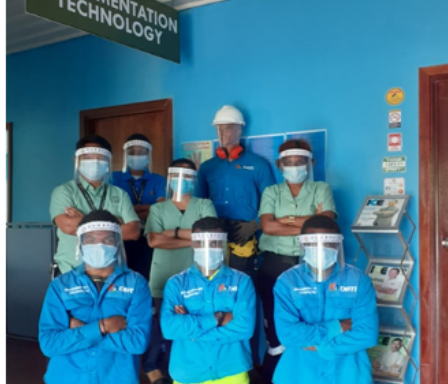 The Instrumentation Team  of Don Bosco Technological Institute in Action:  Students and staff  in the process of  making Face Shields.