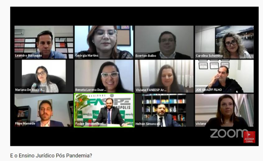 """participantes de tema """"O Ensino Jurídico Pós Pandemia"""", promovida no dia 21 de julho pelo advogado e professor de Direito, Leandro Eustáquio, e pela editora D'Plácido"""