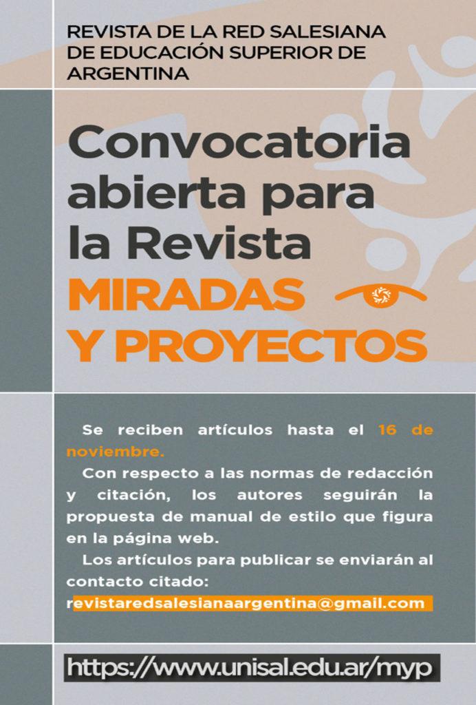 """Argentina - Convocatoria abierta para revista académica de la red Salesiana de educación superior """"Miradas y Proyectos"""""""