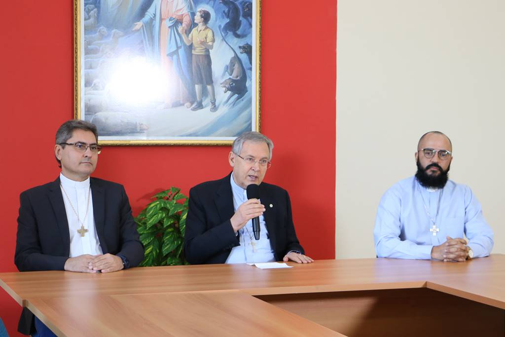 Members of the Rectory of UniSALESIANO, the Rector of the Institution, Fr. Luigi Favero, the Vice-Rector and Director-General of the Lins campus, Fr. Paulo Vendrame, and the Pro-Rector of Pastoral, Fr. Erondi Tamandaré