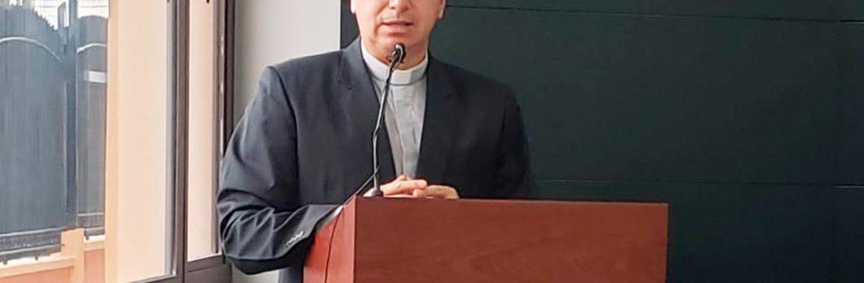 Fr. Juan Cárdenas rector of the Universidad Politécnica Salesiana of Ecuador, addressing the teachers during the 2020 teacher development and refresher online course.