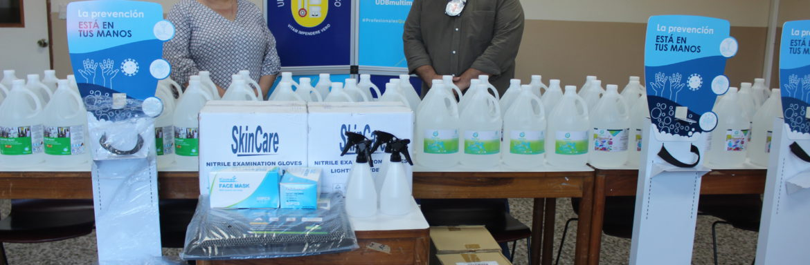 The International Committee of the Red Cross (ICRC) donated personal safety supplies for the Faculty of Rehabilitation Sciences at the Don Bosco University (UDB), El Salvador