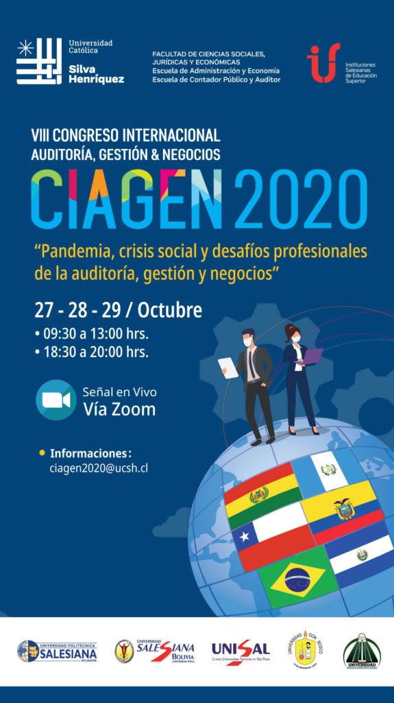 """VII Congreso Internacional - CIAGEN 2020 """" Pandemia, crisis social y desafíos profesionales de la auditoría, gestión y negocios """""""