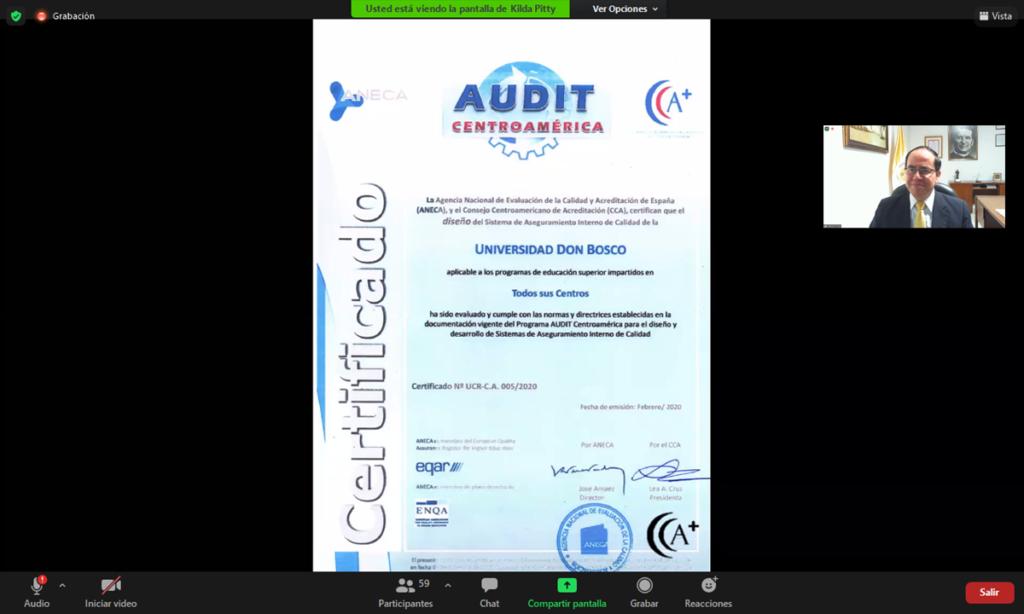 El Salvador - UDB es la primera universidad salvadoreña en recibir certificación internacional por su Sistema Interno de Aseguramiento de Calidad de la Formación