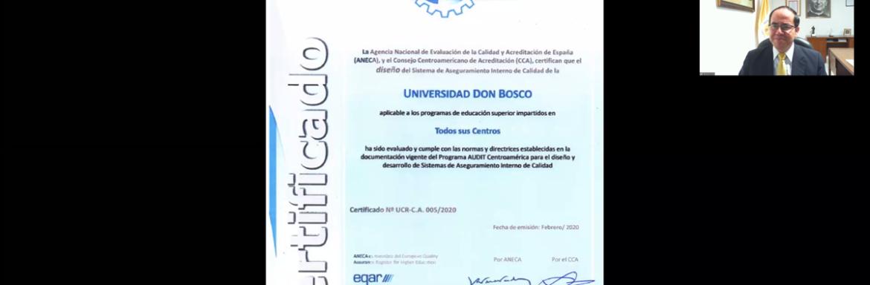 Ceremonia virtual de entrega certificación SIAC