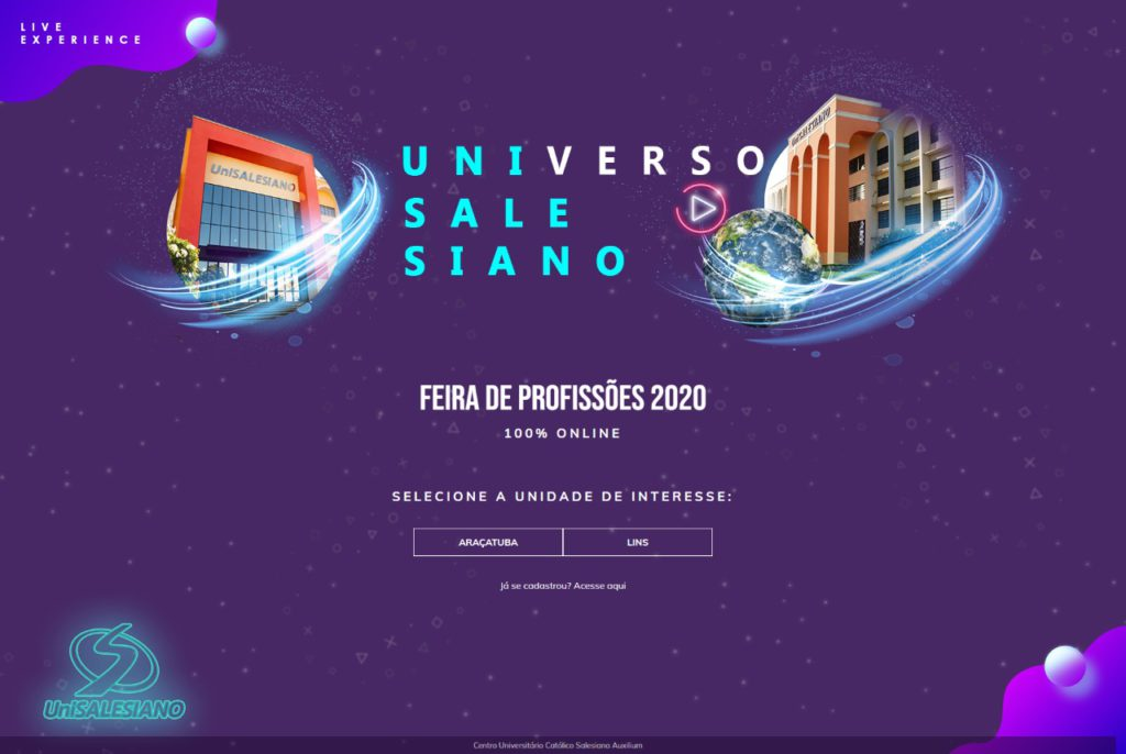 "Brasil  - UniSALESIANO lançou Feira de Profissões 2020 no formato virtual ""Universo UniSALESIANO"""