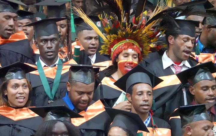 Graduation students of the 19th graduation ceremony of the Don Bosco Technological Institute, Port Moresby, Papua New Guinea.