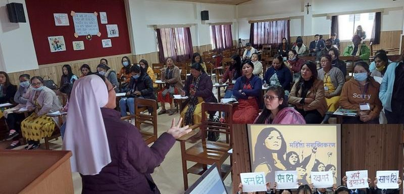Sister Anjana Rai from Auxilium Dispensary Mirik addressing the women in the women empowerment, Salesian College Sonada, India.