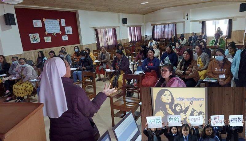 Sister Anjana Rai from Auxilium Dispensary Mirik addressing the women in the women empowerment, Salesian College Sonada, India.