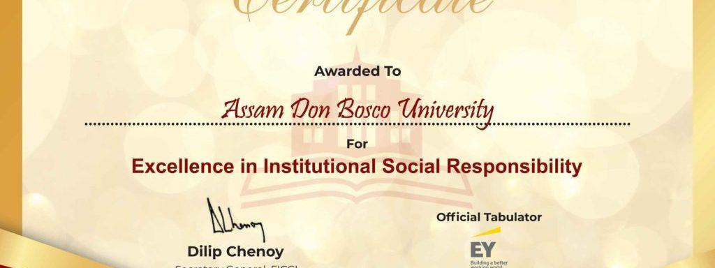 'Excellence in Institutional Social Responsibility Award for Assam Don Bosco University, India