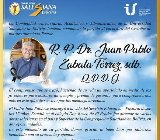 mensaje de condolencias al Padre Juan Pablo Zabala, Rector de la Universidad Salesiana, Bolivia
