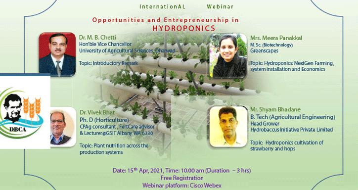 International webinar on Hydroponics,