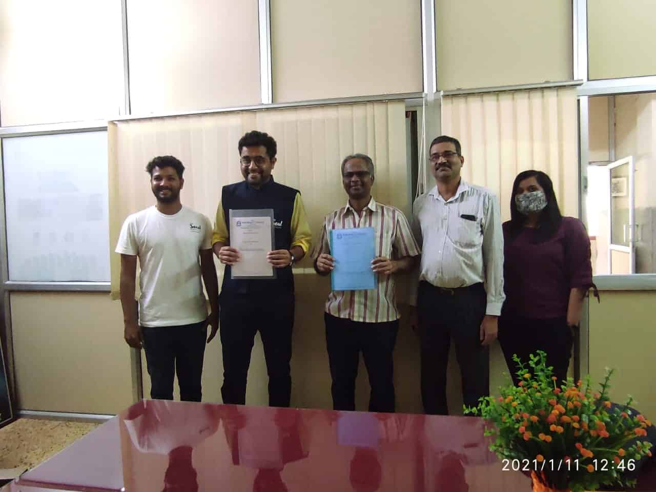 Rev. Fr. Joaquim Lobo, Director of Don Bosco College, Panjim, and Mr. Varun Hegde, Founder of Untraced Paths Travellers LLP in the presence of Principal, Dr. Cedric Silveira, Department Coordinator Ms. Steffi Dias, along with Assistant Professors Sneha Sawant, Twinkle Fernandes and Gilbert Mendes of the Travel and Tourism department during the during the partnership signing in Don Bosco College Panjim, India