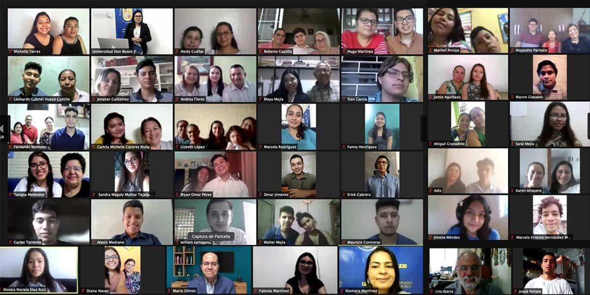 Reunión de Estudiantes seleccionados para formar parte de la comunidad de estudiantes becarios ciclo 01/2021 de la Universidad Don Bosco, El Salvador