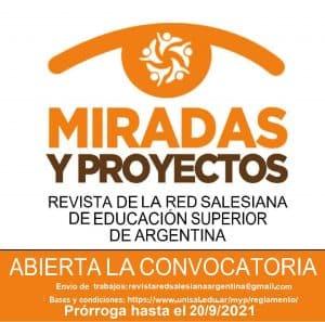 """prórroga de la revista""""MIRADAS y PROYECTOS"""", de la la Red Salesiana de Educación Superior de Argentina"""