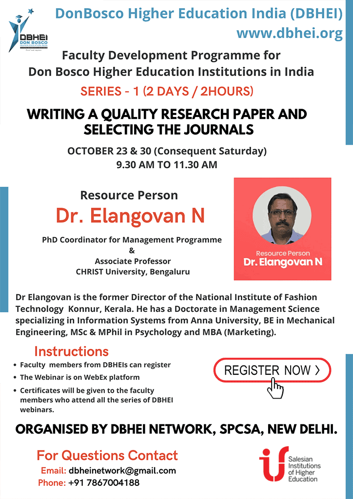 Development Programme: Writing a quality research paper and selecting the journals - DBHEI